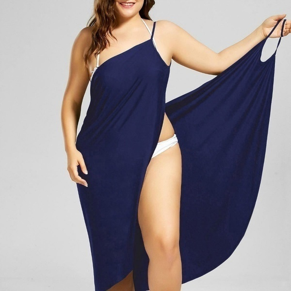 2019 Women Fashion Sleeveless Solid Color Cotton Casual Beach Wear Wrap Cover Ups Dress Plus Size XS-5XL