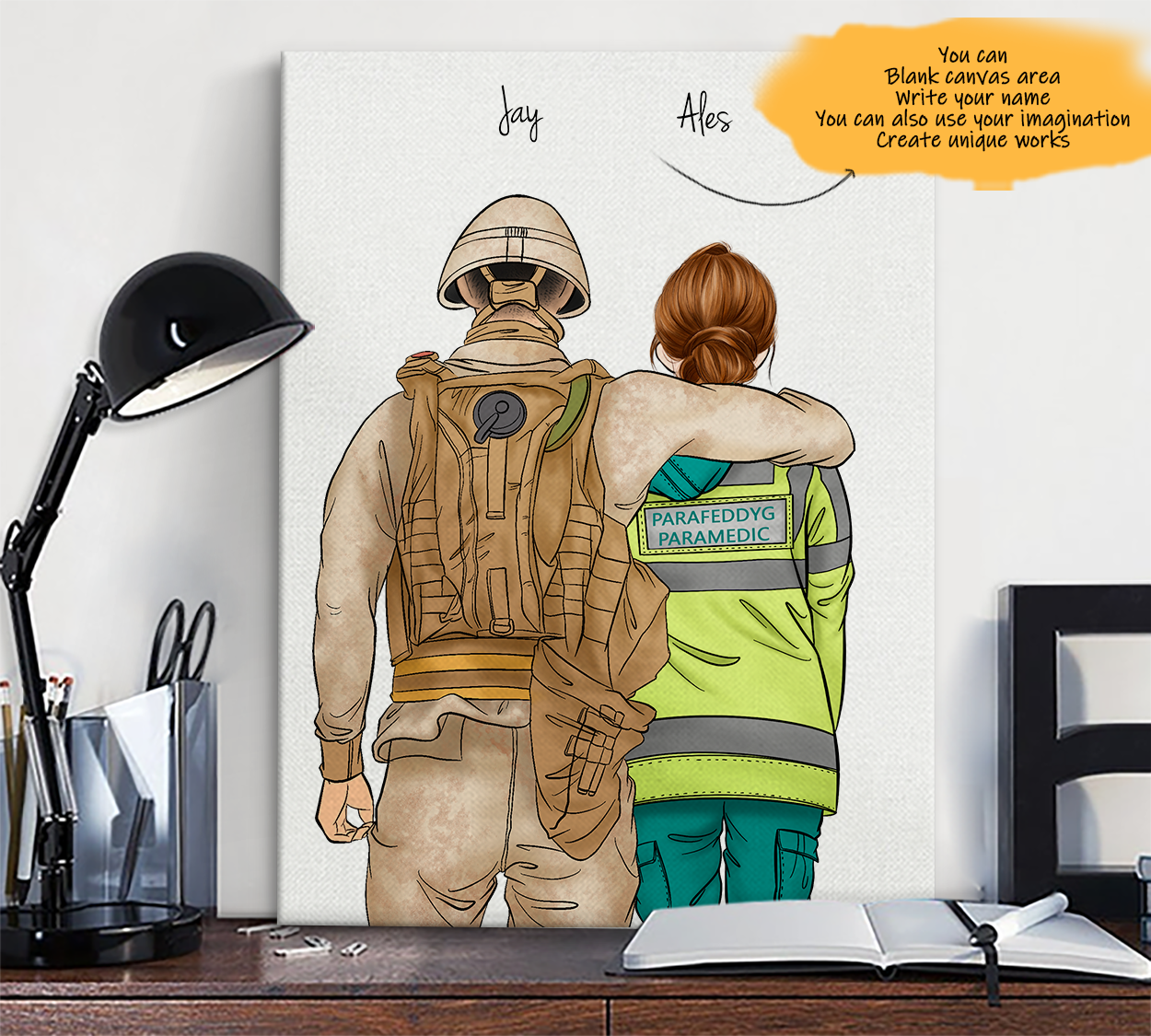 He is My Friend! Hand Draw Custom Canvas-Print Gift Soldier-Light&ParamedicUK