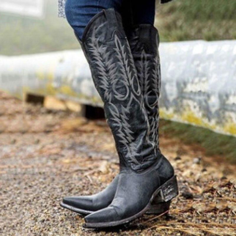 Plant Pointed Toe Slip-On Thread Western Boots