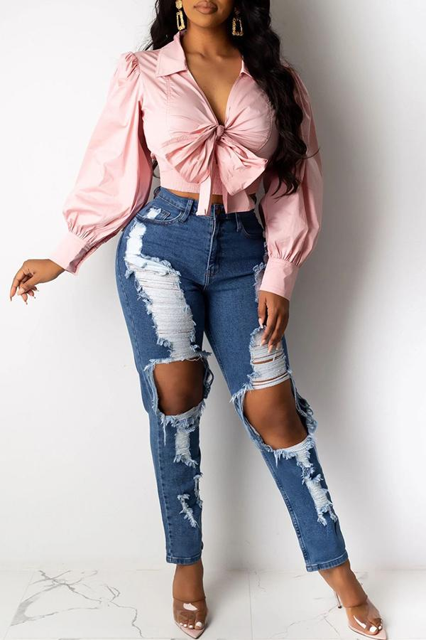 Knee-ripped Slim Fit Jeans