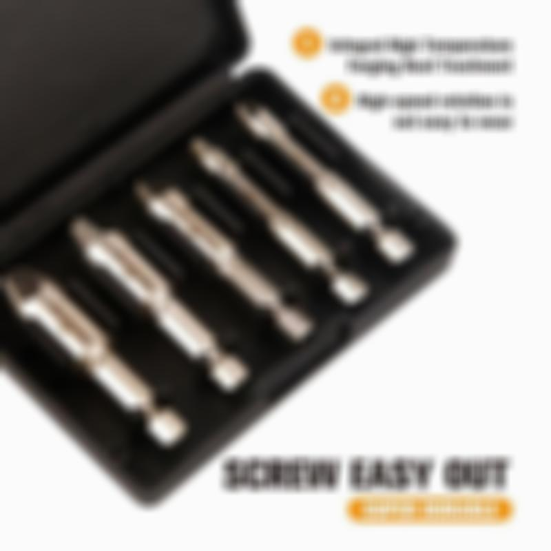 Damaged Screw Extractor Speed Out Drill Bits Tool Set Broken Bolt Remover