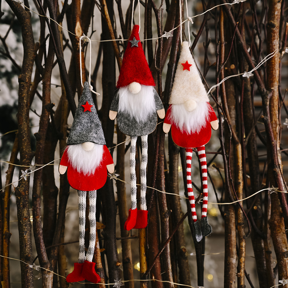 Christmas forest old faceless doll goblin hanging legs ornaments