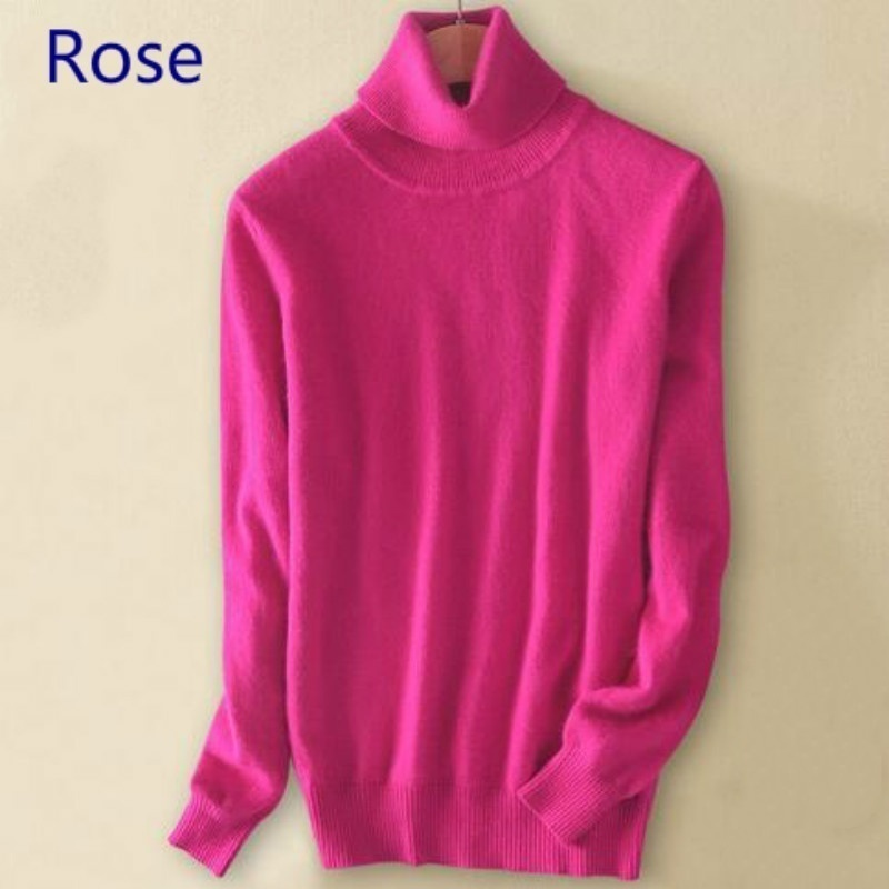 Wool Pure Cashmere Sweater  Women's Knitted Turtleneck Cashmere Jumper Pullover Elasticity Pull Femme High Neck Knitting Sweaters Sweater
