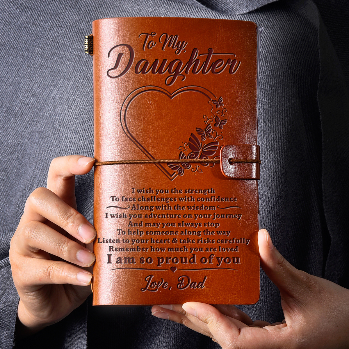 3 Days Shipping Mom To Daughter So Proud Of You Engraved Leather Cover Notebook