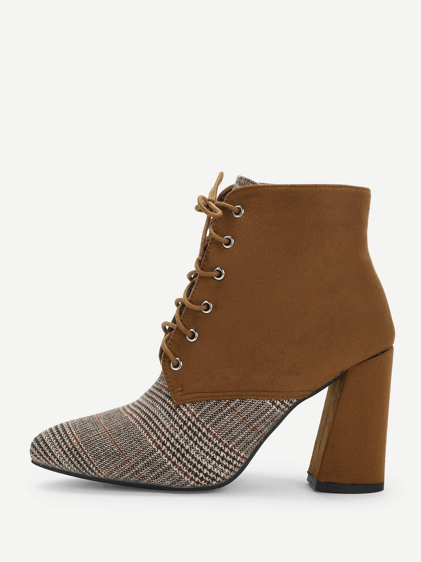 Houndstooth Pattern Lace-up Boots