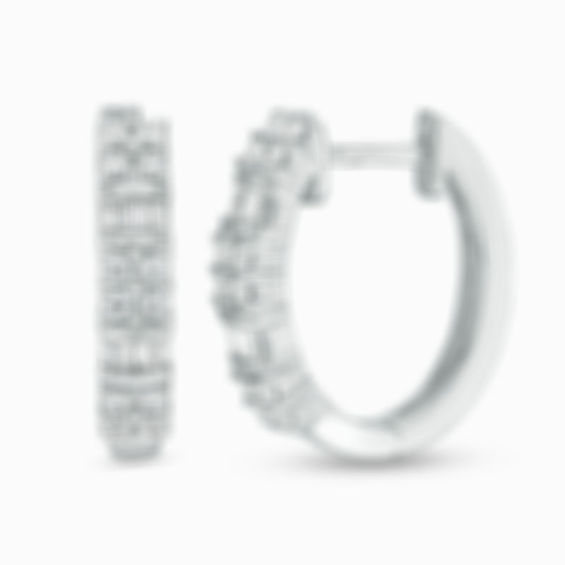 Baguette and Round Diamond Alternating Hoop Earrings in 10K White Gold