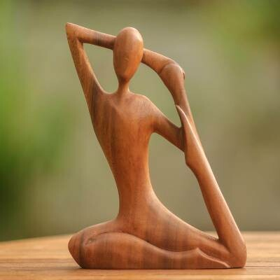 Yoga pose wood carving Wood sculpture Gifts for gymnastics lovers
