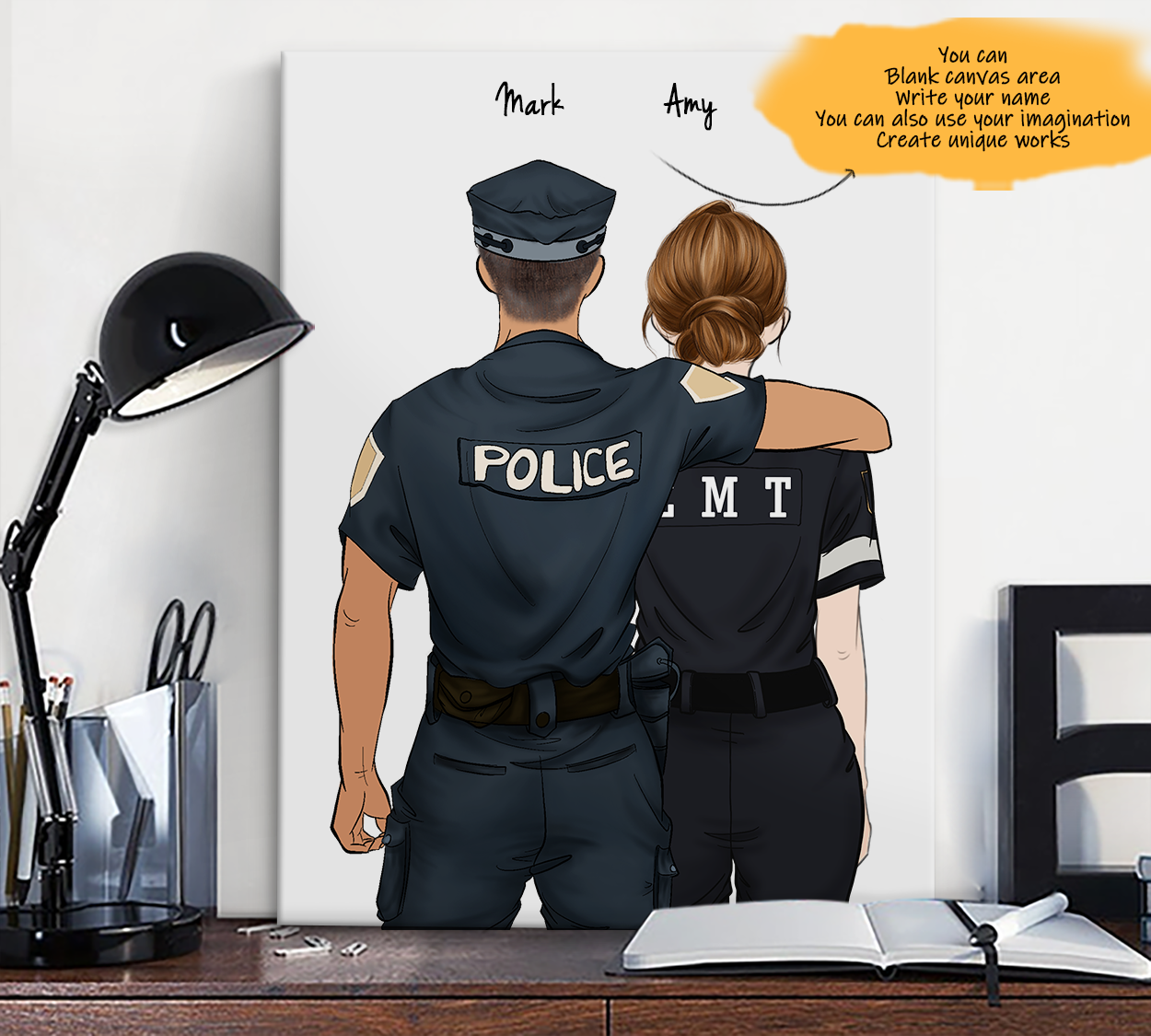 He is My Friend! Hand Draw Custom Canvas-Print Gift Police-Tan&EMT