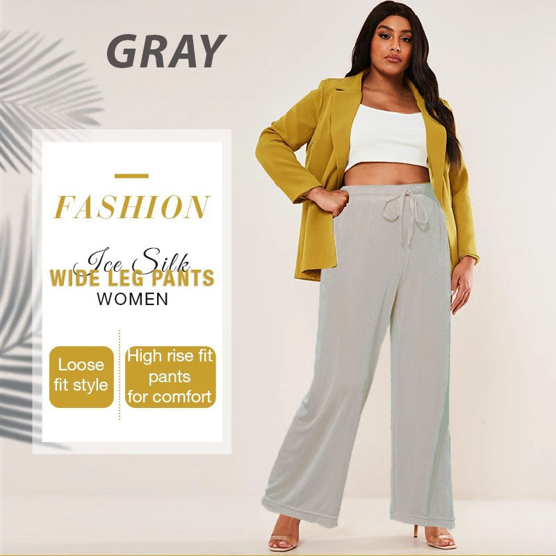 [Last Day Promotion & On-Time Delivery] Plus Size Ice Silk Wide Leg High Waisted Women's Pants - Buy 2 Free Shipping