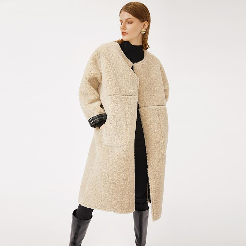 O-neck reversible blended wool good quality thick winter women ivory coat with low moq OEM-Casual Outwear 2.11