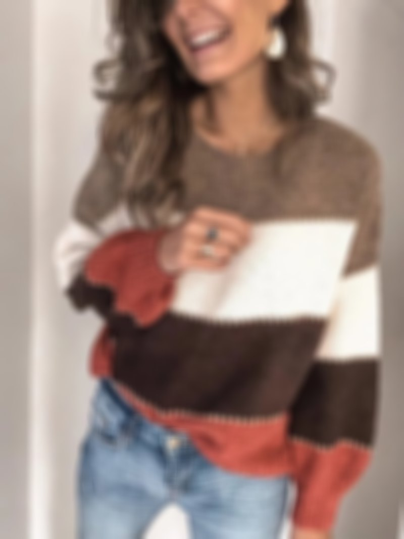 Drop Shoulder Pullover Round Collar Colorblock Sweater