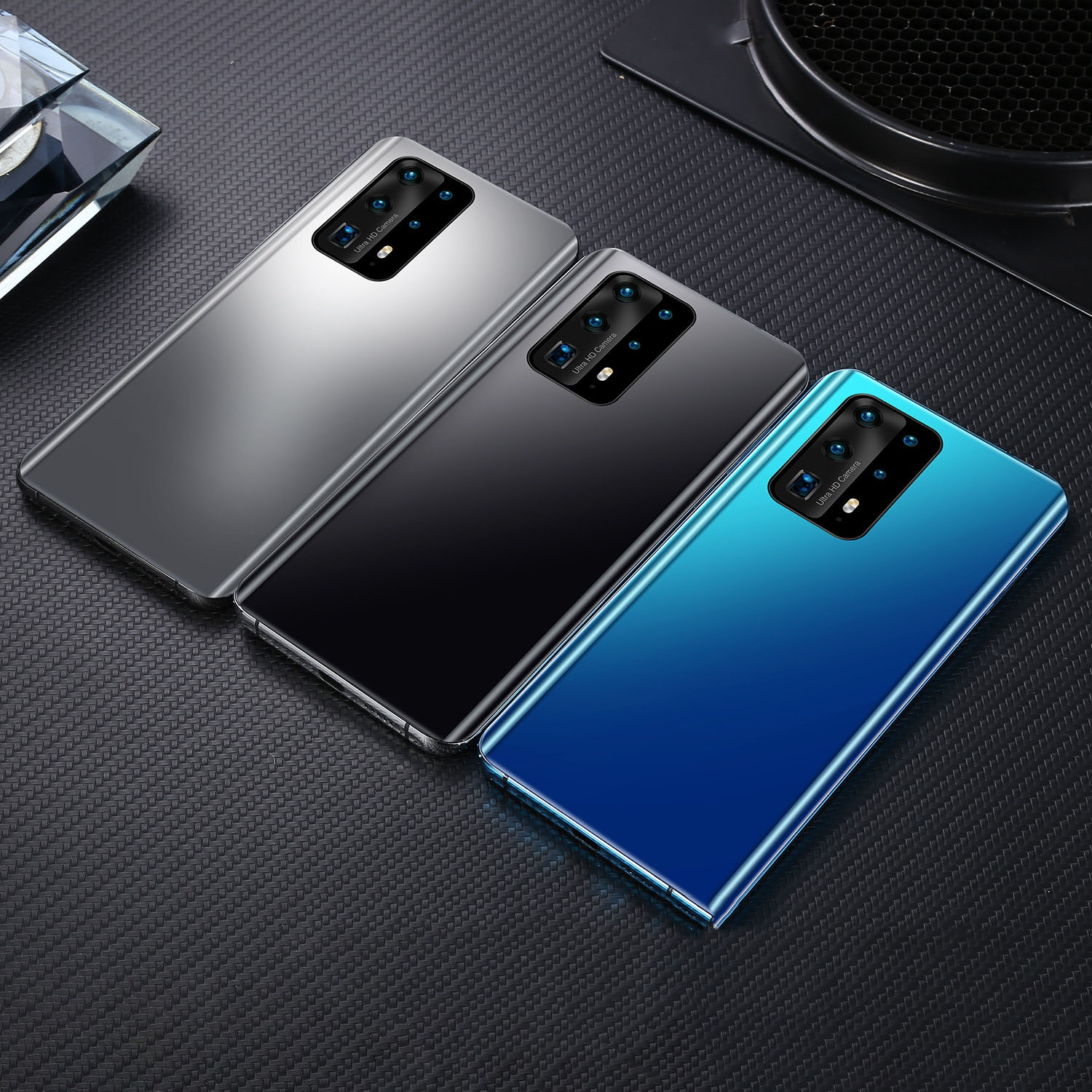 P40 Pro+ Android phone Smartphones 6.5 inch Upgraded Version Water Drop Full Screen 4G 8 Core 12GB+512GB 2 Sim cards support TF card unlocked cellphone with Face ID and fingerprint 4800mAH Large Battery GPS WIFI AT&T AND T-MOBILE