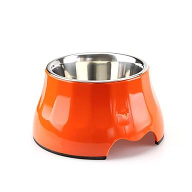 Cat Dog Outfits / Feeders Stainless Steel Food Grade Material Case Included Ergonomic Design Durable Solid Colored Orange Red Blue Bowls & Feeding
