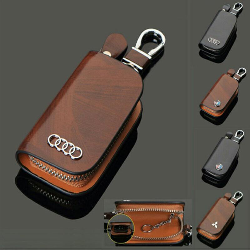 【50% discount for a limited time】Car Logo Leather Wood Texture Car Key Case