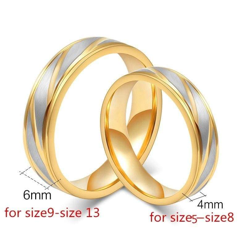 New Fashion Wedding Bands Women Men Couples Ring Fashion Luxury Gold Plated Rings Stainless Steel Jewelry Loves Ring Engagement Gift