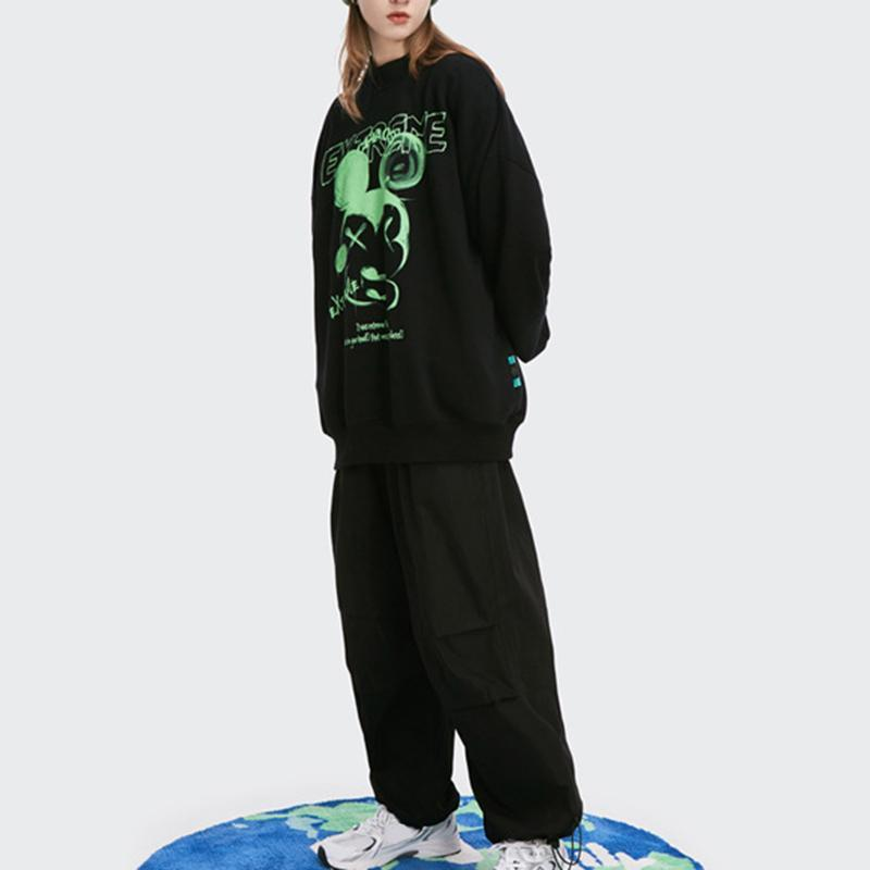 Street Cotton,Polyester Long Sleeve Round Neck Floral with Hoodies(Plus Size)