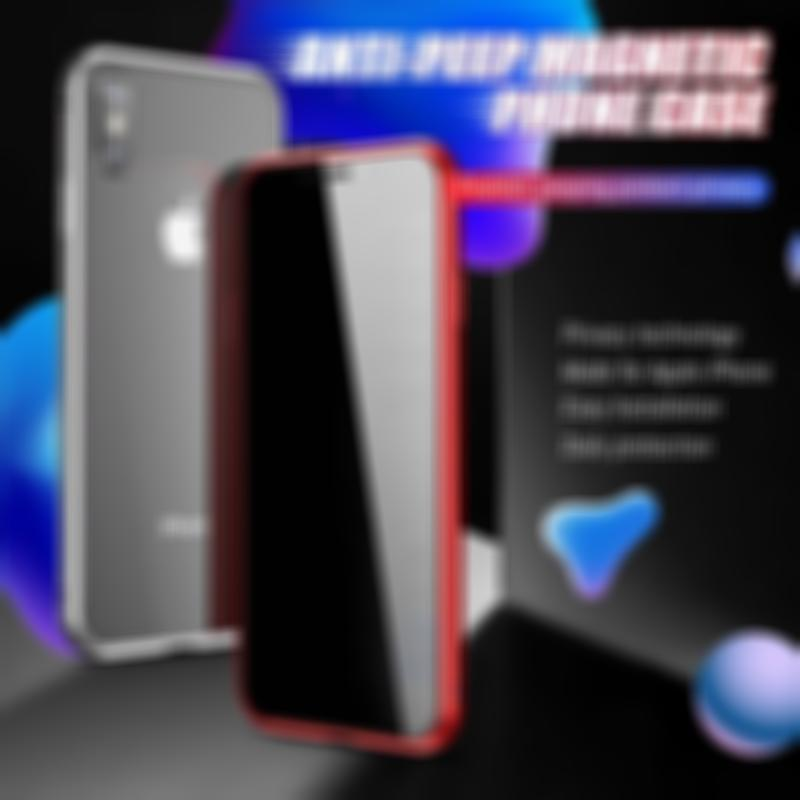 SKRTEN For iphone Anti-peep Magnetic Glass Two Side Cover Metal Frame Phone Case 360 Protection