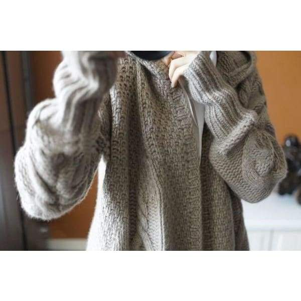 New Women's Fashion Hooded Cardigan Knitted Long Sweaters Casual Loose Sweater Coat Knit Cardigans Plus Size