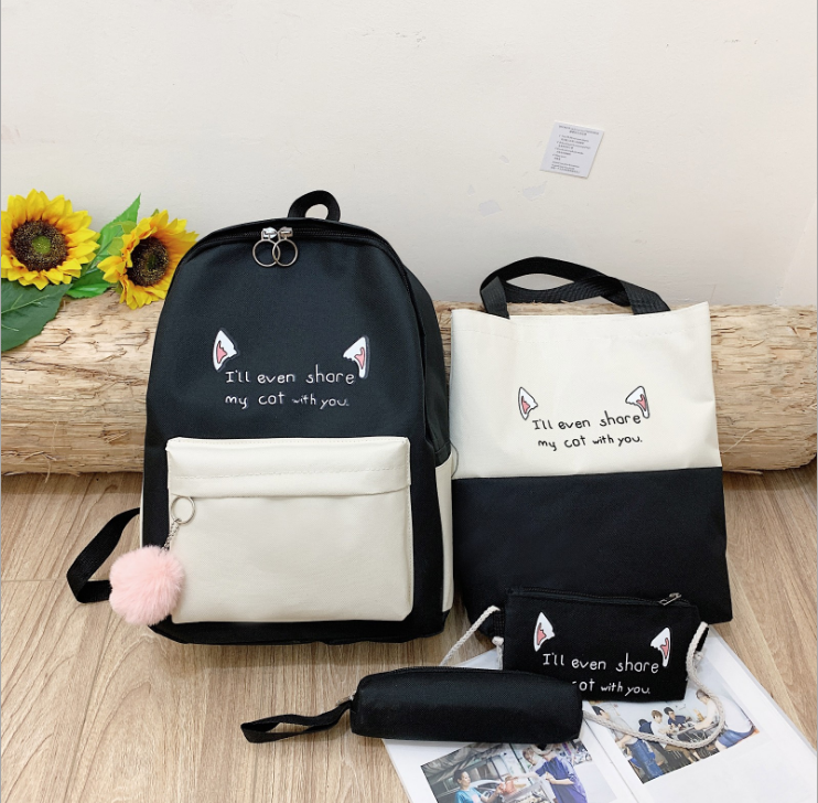 College style four-piece contrast backpack