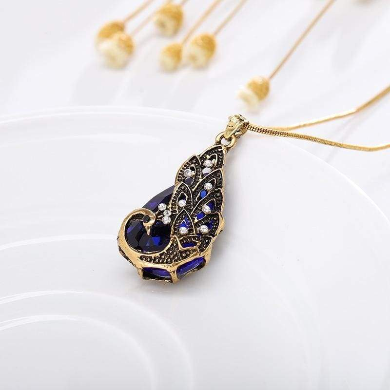Bohemian 18K Gold Plated Crystal Peacock Pendant Necklace Vintage Punk Style Rhinestone Gemstone Drop Earring Women Jewelry Sets Party Accessories