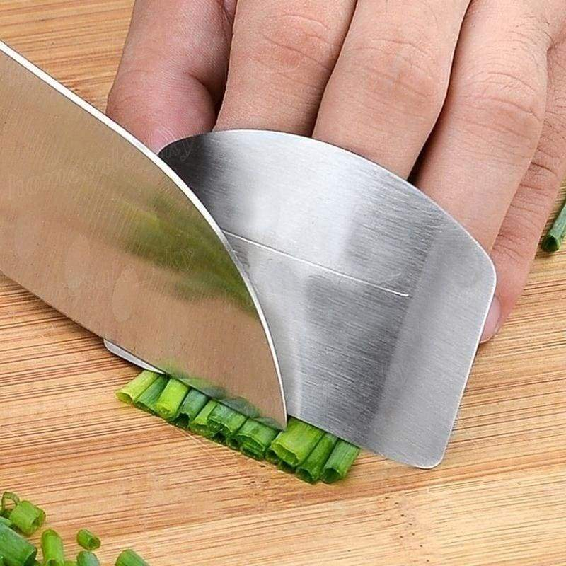 2pcs Stainless Steel Finger Protector Safe Slice Knife Kitchen Gadget Kitchen Knife Protector