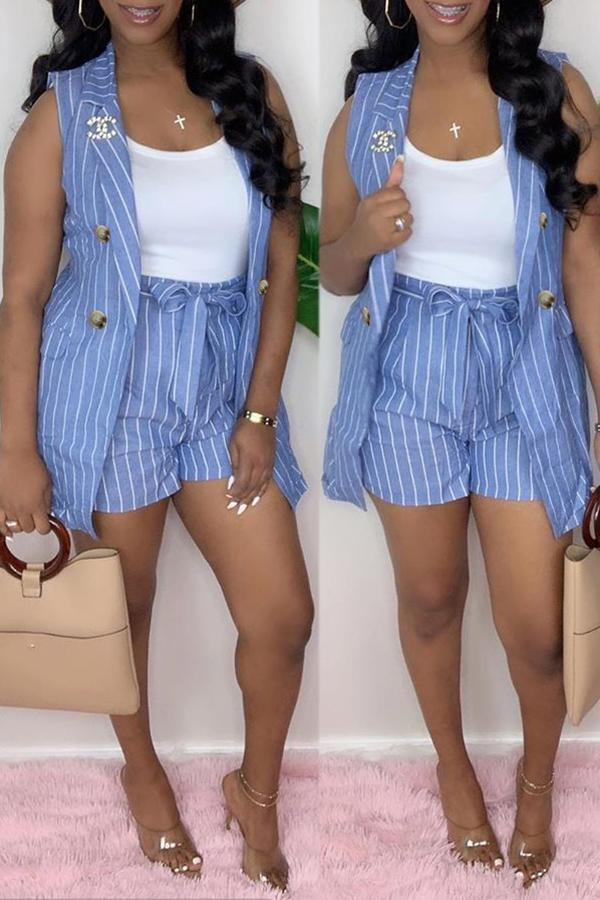 Sleeveless Striped Two-piece Suit