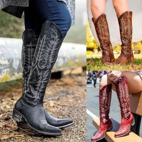 Women Knee High Gladiator Vintage Booties