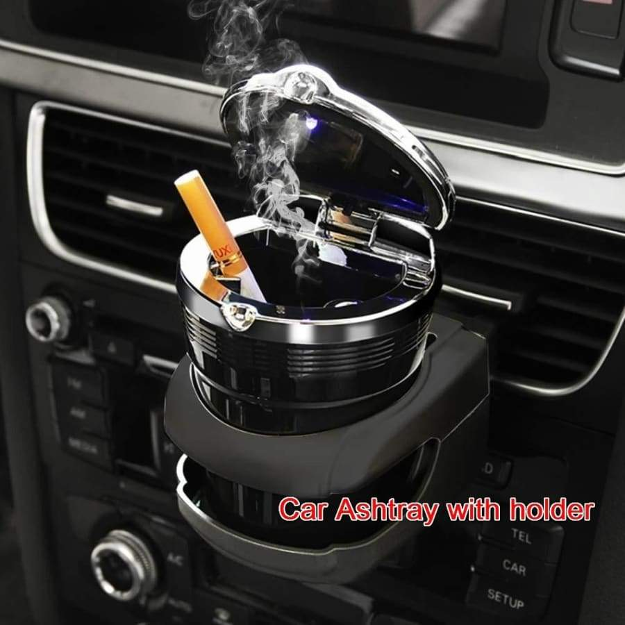 Multi-function Car Ashtray with Cover LED Lamp Universal Car Metal Flame Retardant Ashtray with Holder for All Car,Home,Office