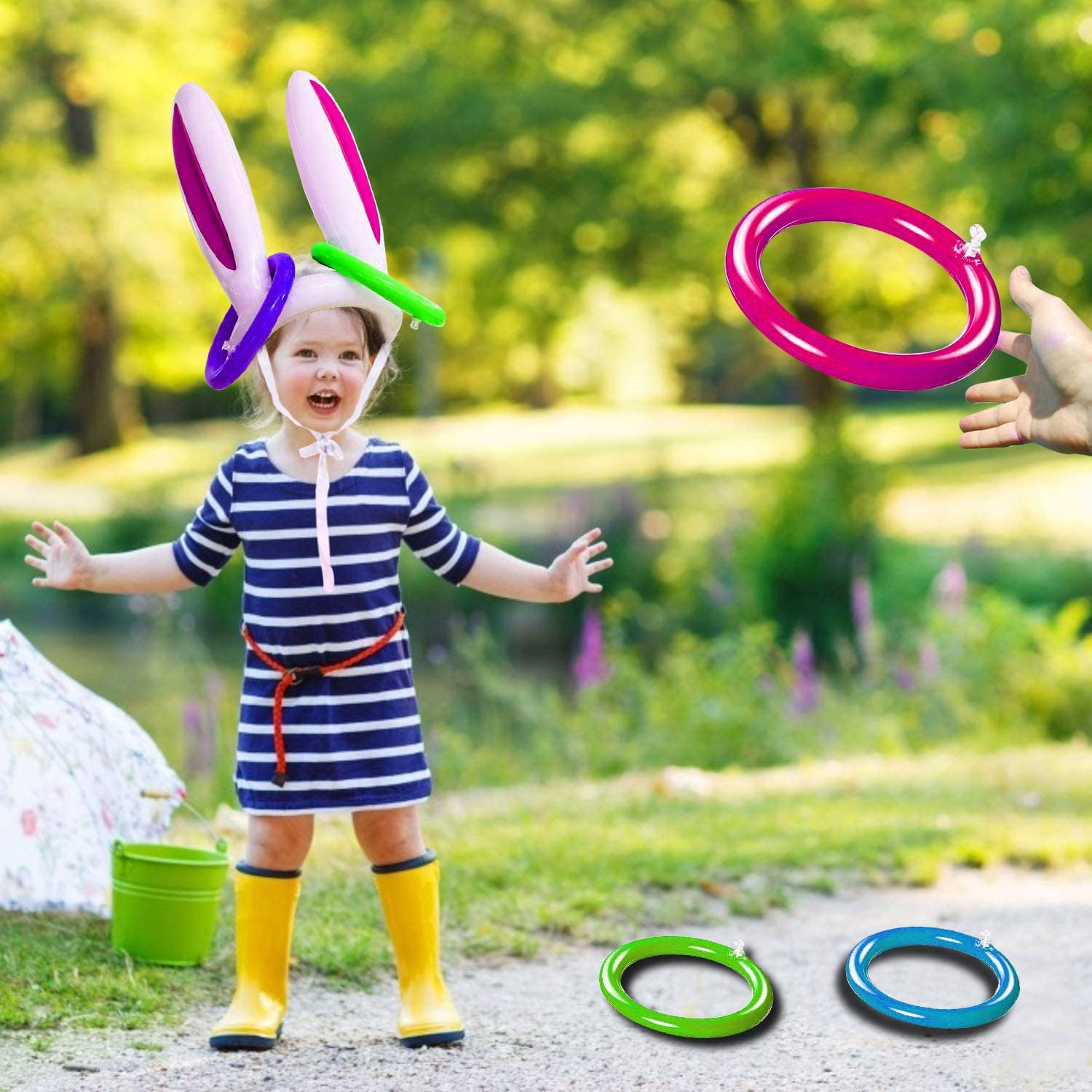 Easter Inflatable Bunny Ring Toss Game Easter Rabbit Ears Ring Toss Party Games Inflatable Toys Gift For Kid Family School Party Favor Indoor Outdoor Toss Game