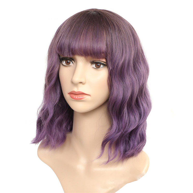 Luna 020 Short Bob Curly African American Wigs with Bangs