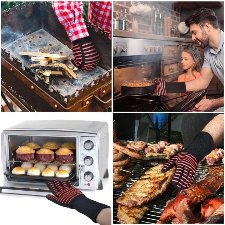 Silicon BBQ Fireproof Glove(932°F Extreme Heat Resistant)