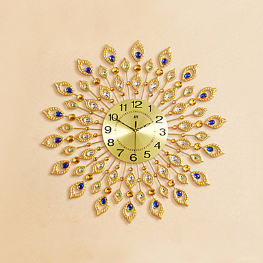 Wall Clock,Modern Contemporary Glass Stone Metal Round Indoor