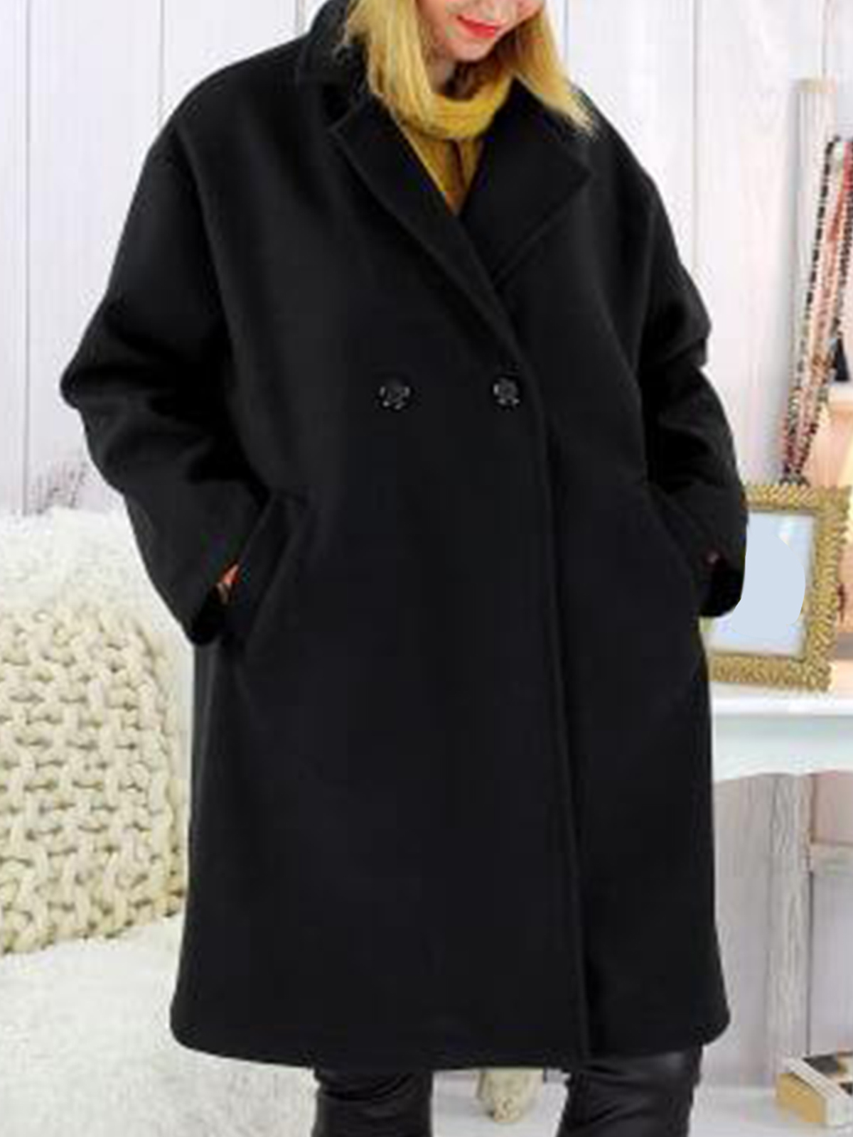 Casual Cotton,Polyester Long Sleeve Plain with Overcoat