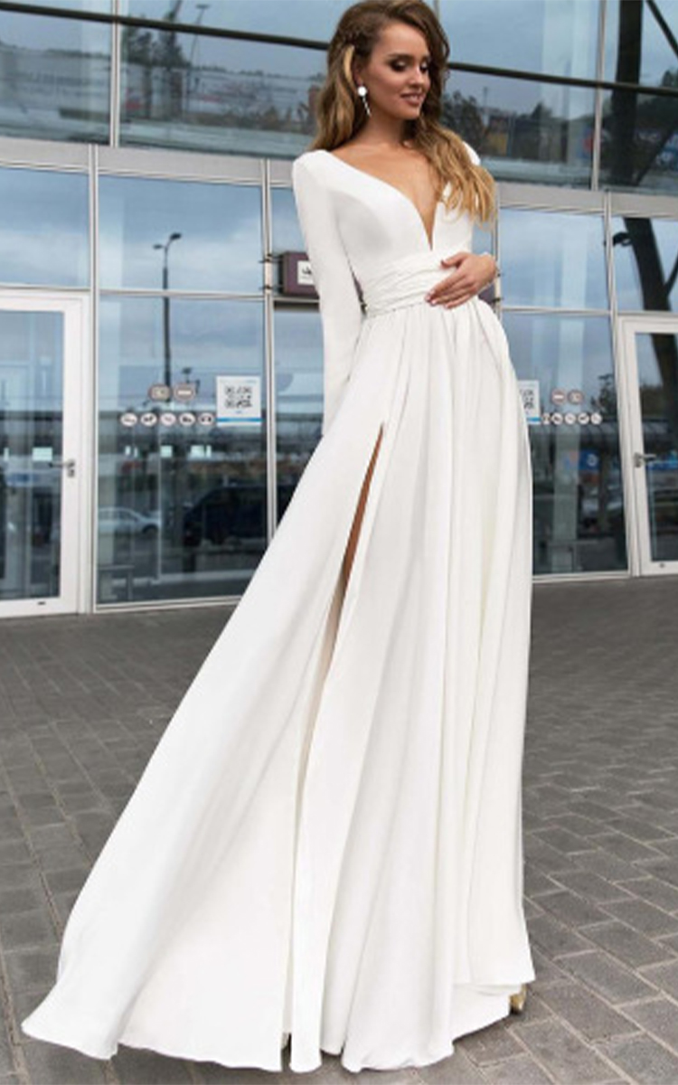 Sexy Long Sleeve Gown Dress