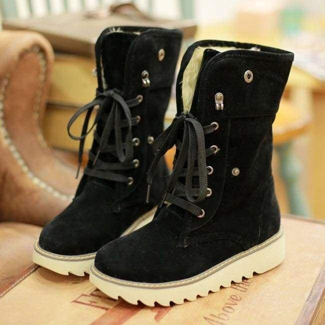 Winter Casual Shoes Women's Suede Thicken Warm Snow Ankle Boots