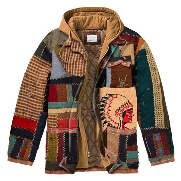 Men's casual padded chiefs print stitching hooded jacket