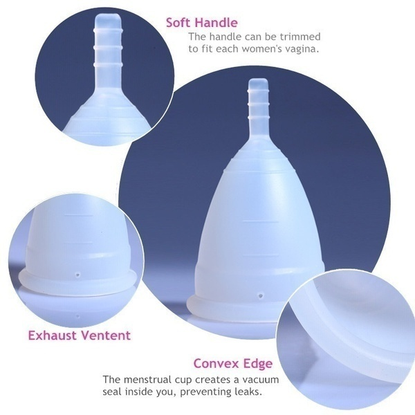 2Pcs Reusable Medical Silicone Soft Menstrual Period Medical Cup Small Large