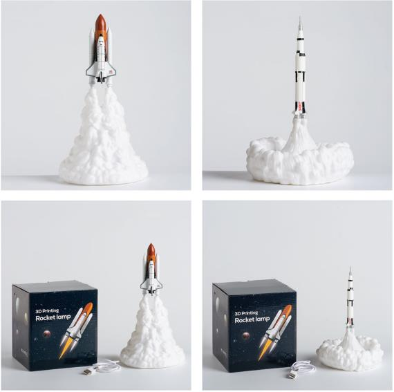 2020 New 3D Print  Rocket Lamp