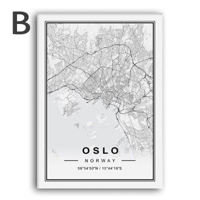 Nordic Minimalist World Famous City Map Canvas Paintings Berlin Oslo Poster Print Wall Art Pictures Kids Room Decor