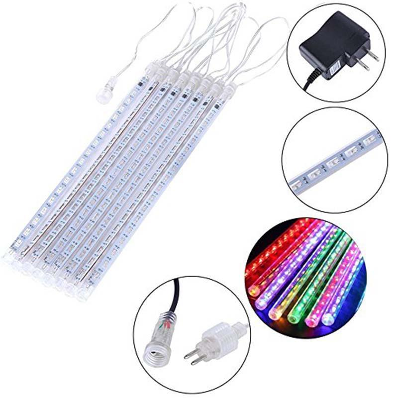 8 Tubes Cascading LED Meteor Icicle Shower Rain String Lights for Christmas