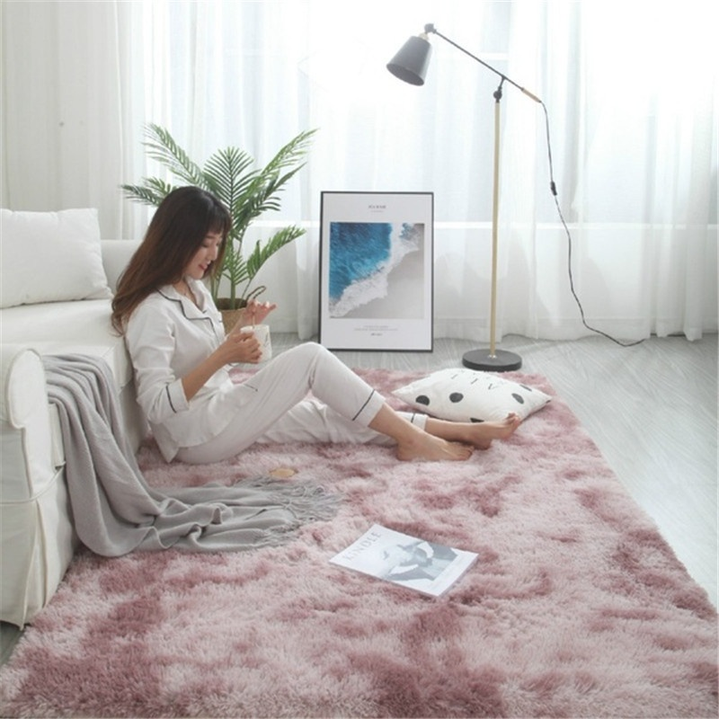 7 Color 6 Size Super Soft Tie-Dye Art Carpet Floor Bedroom Mat Gradient Color Fluffy Area Rug Living Room Carpet Hallway Mat Home Decoration(80x200cm/100x160cm/120x160cm/100x200cm/120x200cm/160x200cm)