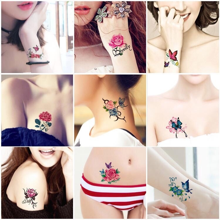 10pcs Lasting Waterproof Butterfly Tattoo Stickers Korean Simulation Rose Sexy Chest Clavicle Sticker Temporary Tattoo Sticker Lotus Cherry Blossom Flash Tattoo