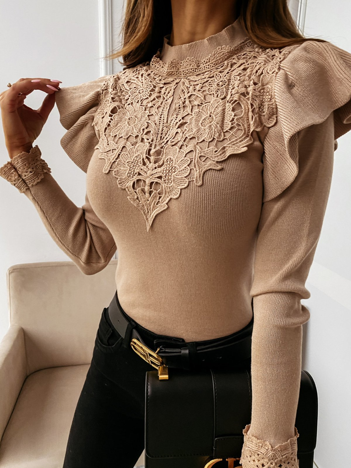 Half High Neck Lace Paneled Ruffle Long Sleeve Solid Knitted Sweater