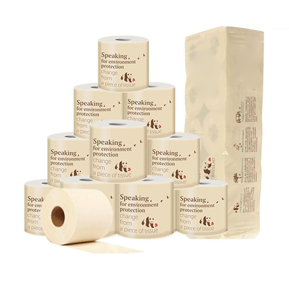 AHOME7 10 Rolls Toilet Paper Bamboo 3-Layer, 240 Sheet Per Roll, Paper Towel
