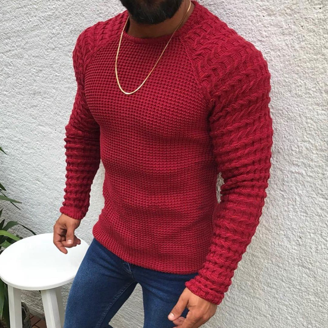 Long Sleeved Round Neck Turtleneck Sweater For Men