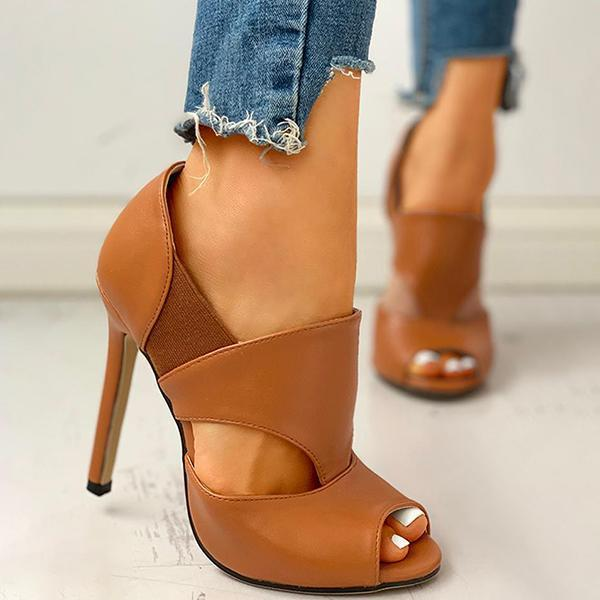 Zoeyootd Solid Hollow Out Design Peep Toe Thin Heels