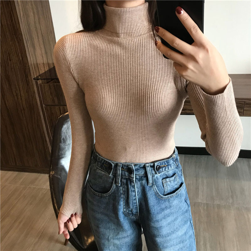 2020 Autumn Winter Ribbed Turtleneck Pullover Sweater