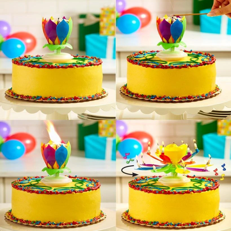 【Last Day Promotion-60% OFF】Upgrade Multicolor Rotating Lotus Cake Candle