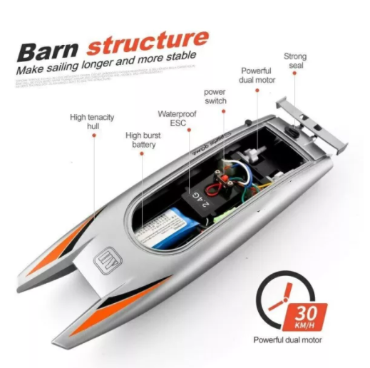 Children Water Toy High-speed Remote Control Boat 7.4 V Large Capacity Battery Speed Boat Racing Boat