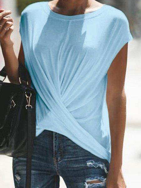 Casual Cotton-Blend Short Sleeve Tops